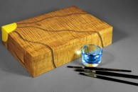 """This is a small watercolour box, around 11"""" x 8"""" x 3"""" veneered with canadian ripple maple."""