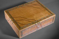 """This watercolour box is veneered with Canadian ripple maple and decorated with dyed veneers. The inlaid multi-coloured wavy lines inside and outside this box have made it probably the most photographed and featured box I've ever made. 14"""" x 10"""" x 3 1/2"""", french polished."""