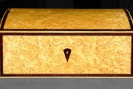 """This jewellery box is veneered with an unusually pale myrtle - a very good alternative to burr maple which can sometimes be rather marked making it hard to select really clean areas to bookmatch. French polished, 12"""" x 8"""" x 5"""""""