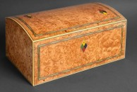 """This is a large domed top jewellery box, 18"""" x 10"""" x 8"""", veneered with burr maple and decorated with dyed veneers.The exterior is french polished."""