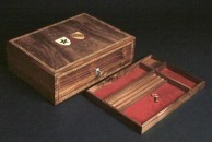 """This desk box is made from walnut and measures 10 1/2"""" x 8"""" x 3 1/2"""""""