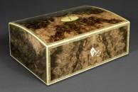 "A domed top jewellery box veneered with burr walnut. 10"" x 7"" x 5"" - French polished"