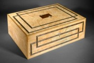 """This was the first watercolour box I made, and still the largest to date. It is veneered with burr maple and decorated with lines made from dyed veneers. 15"""" x 12"""" x 7"""", french polished."""
